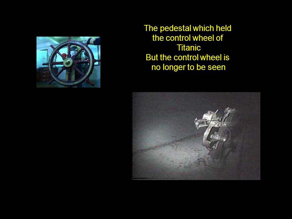The pedestal which held the control wheel of Titanic