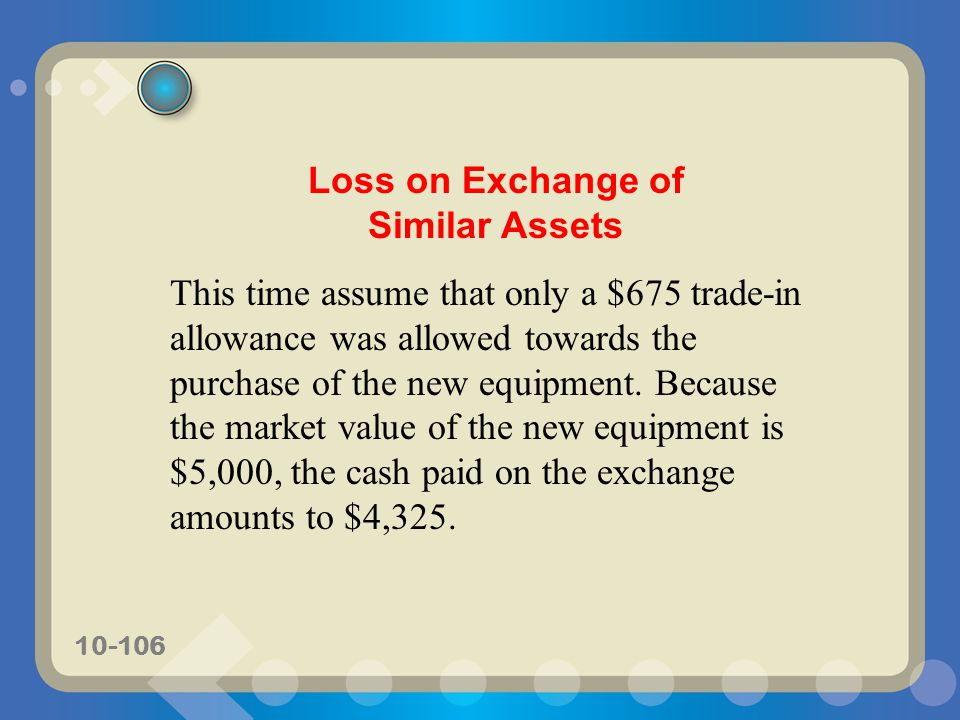 Loss on Exchange of Similar Assets