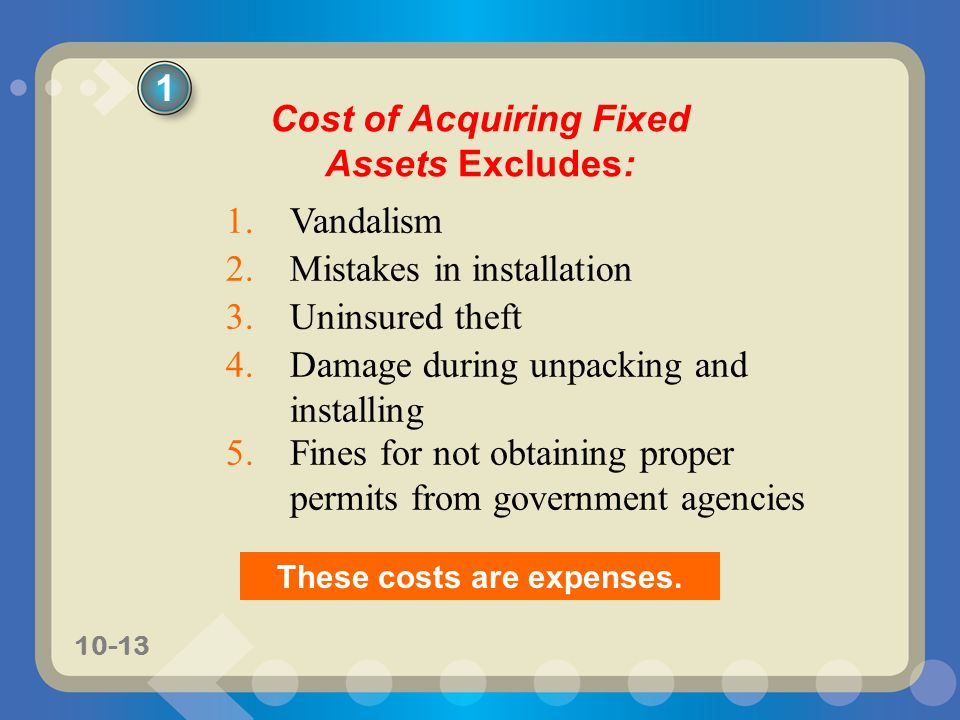 Cost of Acquiring Fixed Assets Excludes: These costs are expenses.