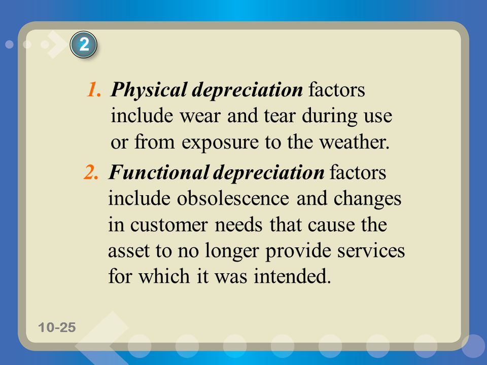 2 Physical depreciation factors include wear and tear during use or from exposure to the weather.
