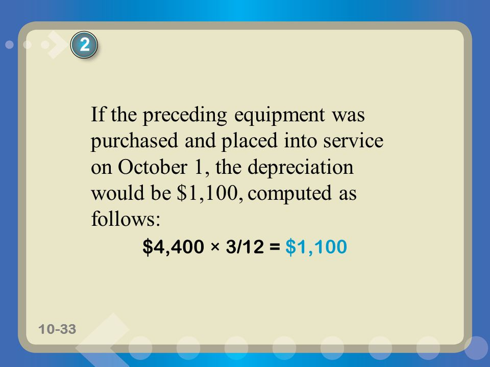 2 If the preceding equipment was purchased and placed into service on October 1, the depreciation would be $1,100, computed as follows:
