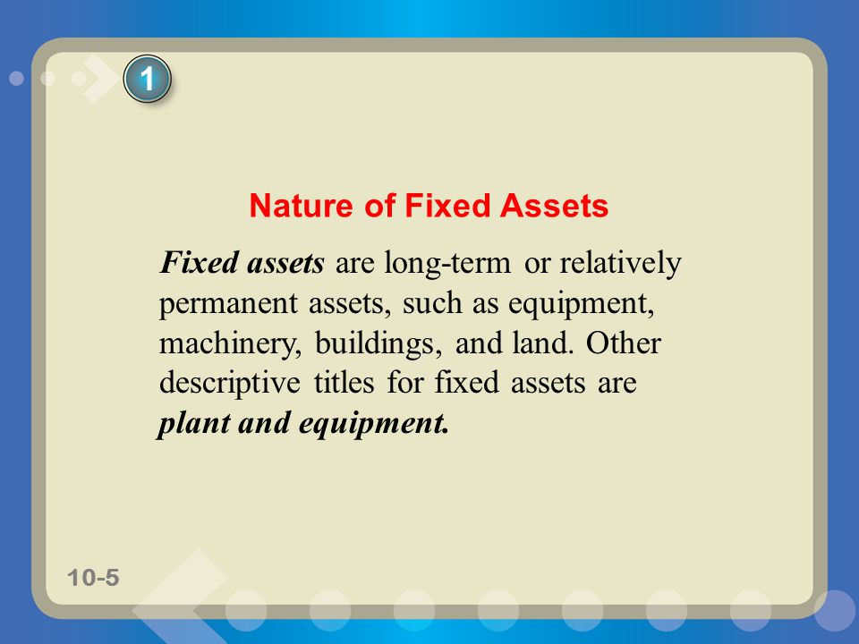 1 Nature of Fixed Assets.