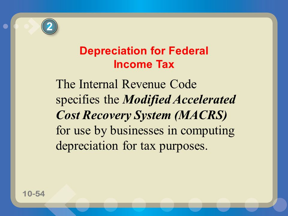 Depreciation for Federal Income Tax