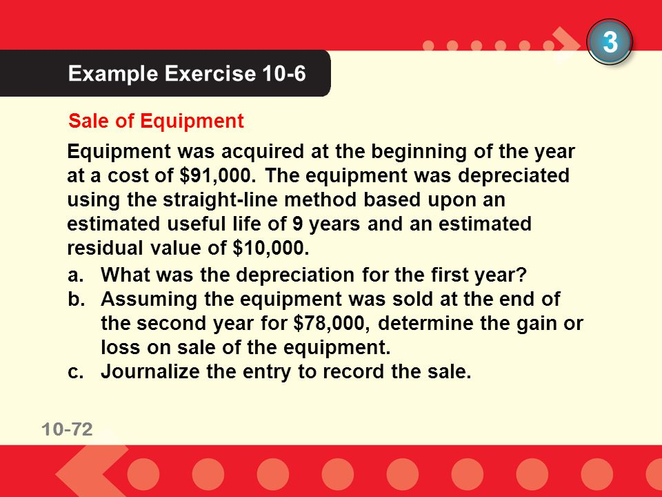3 Example Exercise 10-6 Sale of Equipment