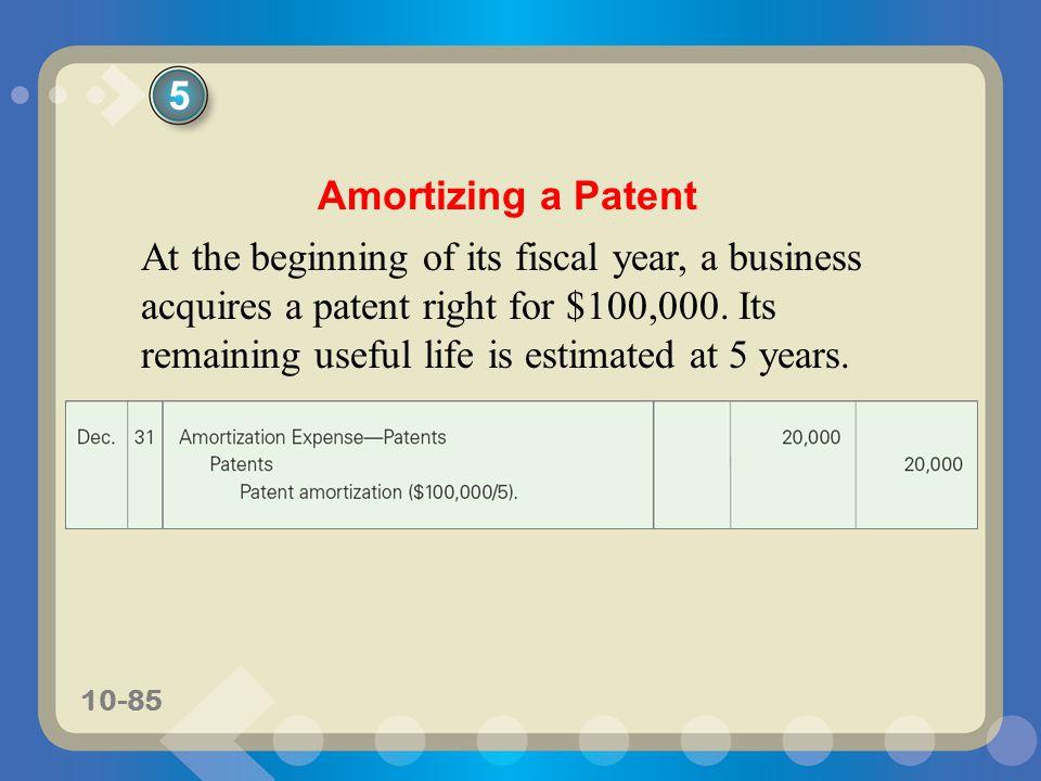 5 Amortizing a Patent.