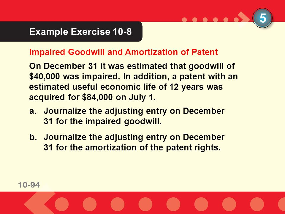 5 Example Exercise 10-8 Impaired Goodwill and Amortization of Patent
