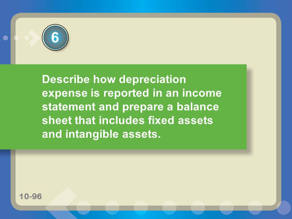 6 Describe how depreciation expense is reported in an income statement and prepare a balance sheet that includes fixed assets and intangible assets.