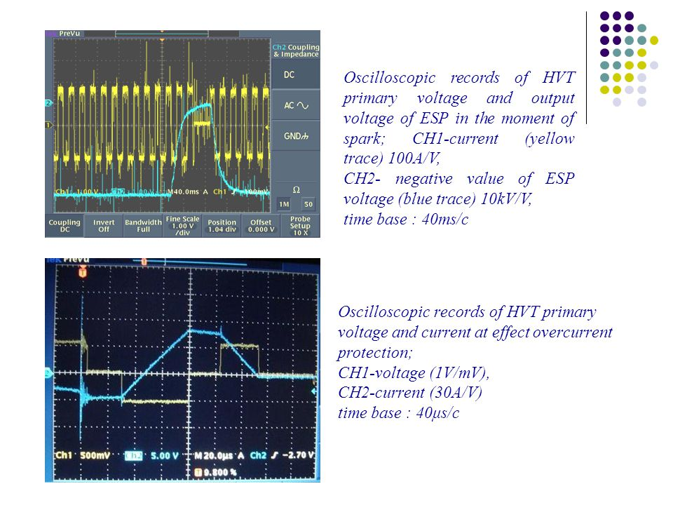 Oscilloscopic records of HVT primary voltage and output voltage of ESP in the moment of spark; CH1-current (yellow trace) 100A/V,