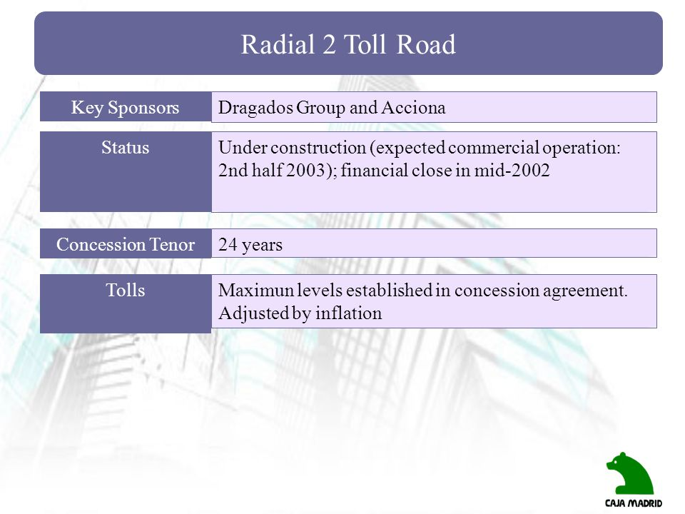 Radial 2 Toll Road Key Sponsors Dragados Group and Acciona Status