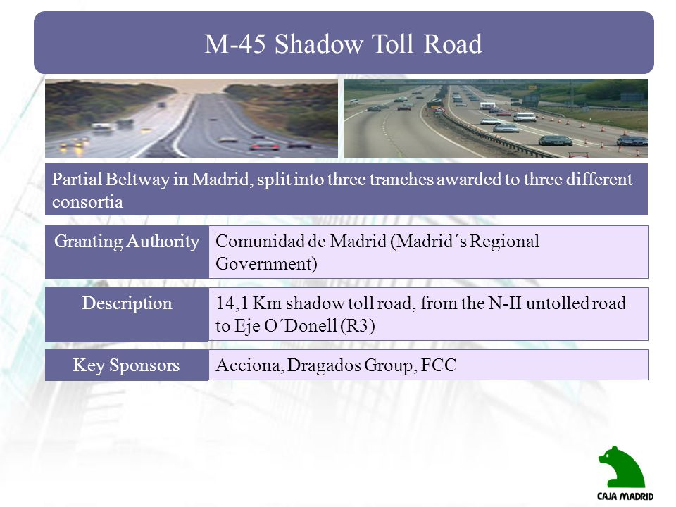 M-45 Shadow Toll Road Partial Beltway in Madrid, split into three tranches awarded to three different consortia.
