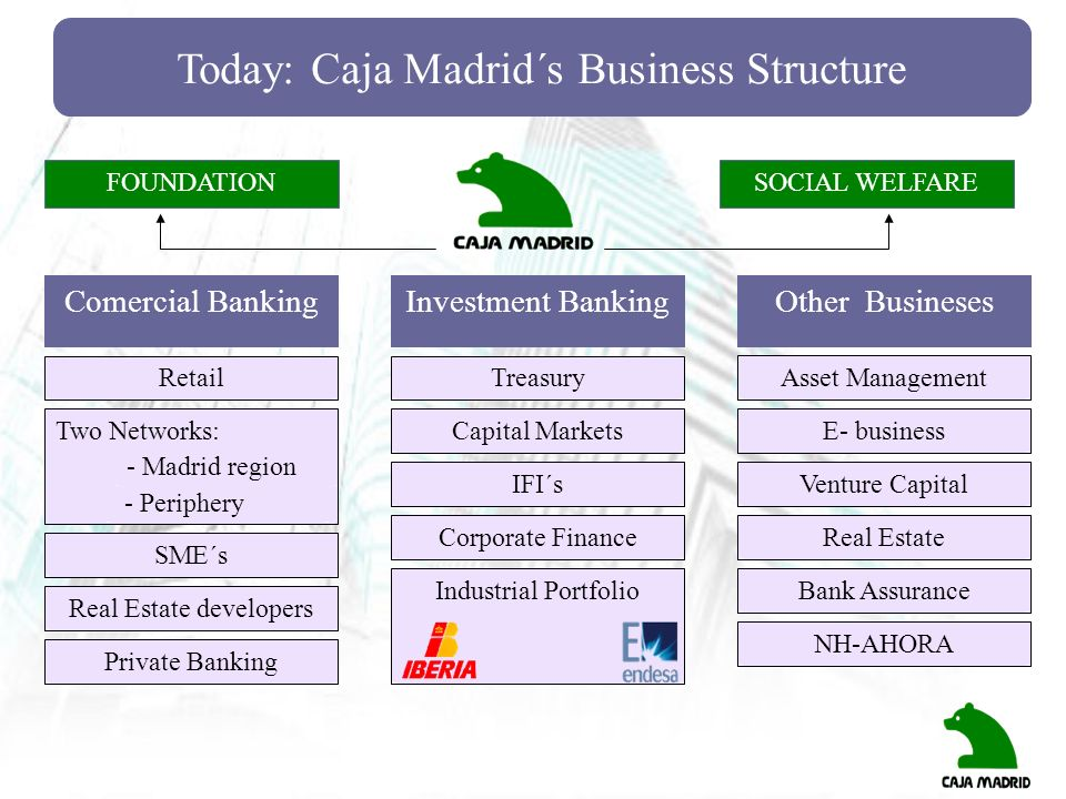 Today: Caja Madrid´s Business Structure