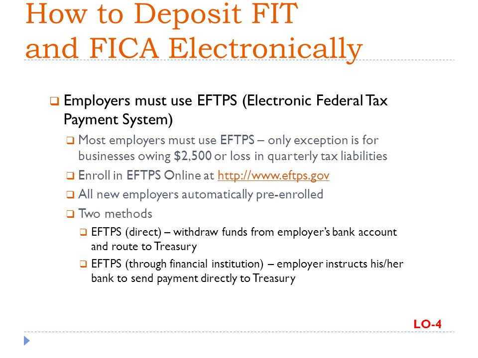 How to Deposit FIT and FICA Electronically