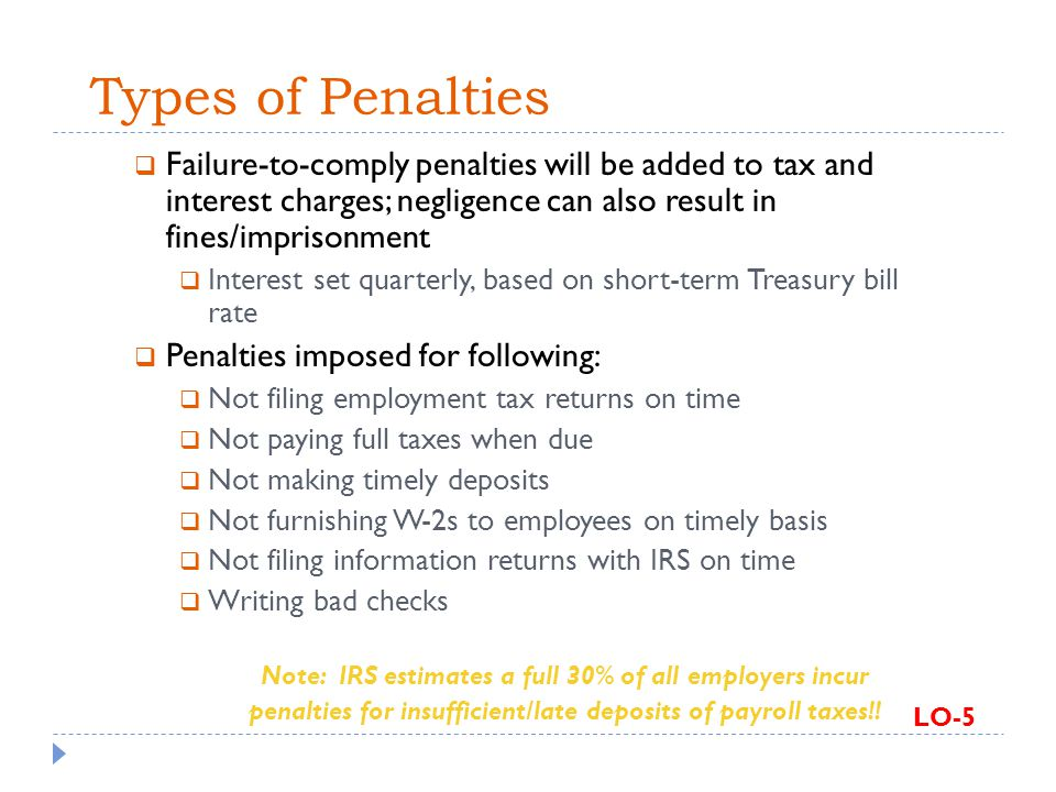 Types of Penalties Failure-to-comply penalties will be added to tax and interest charges; negligence can also result in fines/imprisonment.