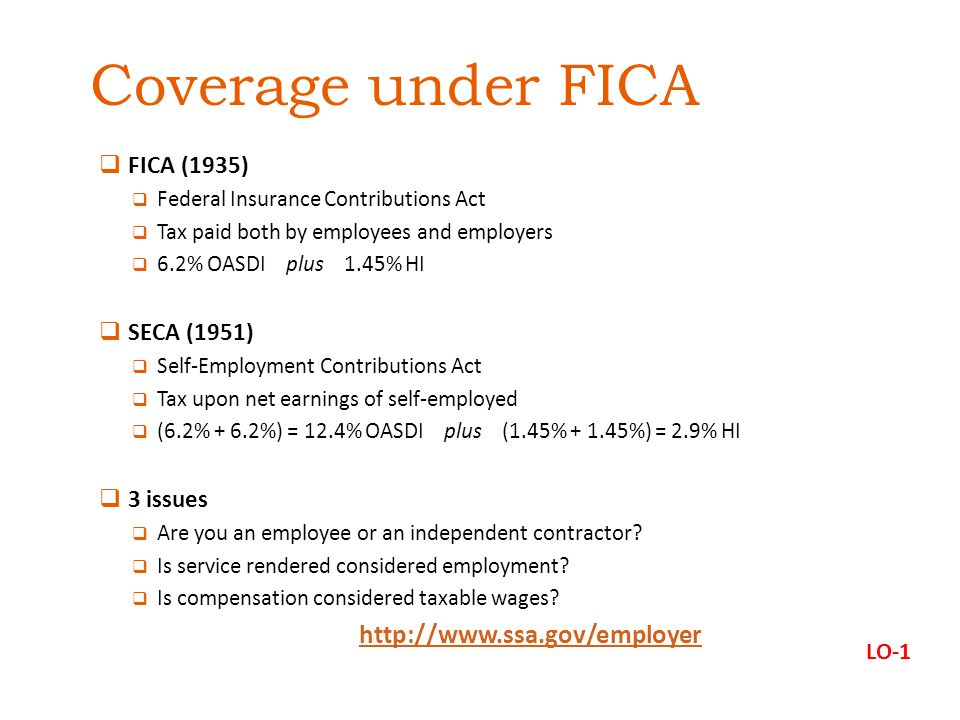 Coverage under FICA http://www.ssa.gov/employer FICA (1935)
