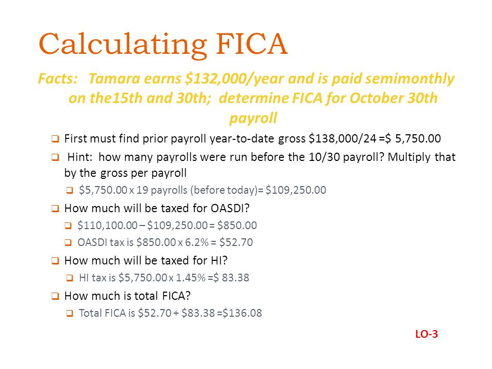 Calculating FICA Facts: Tamara earns $132,000/year and is paid semimonthly on the15th and 30th; determine FICA for October 30th payroll.