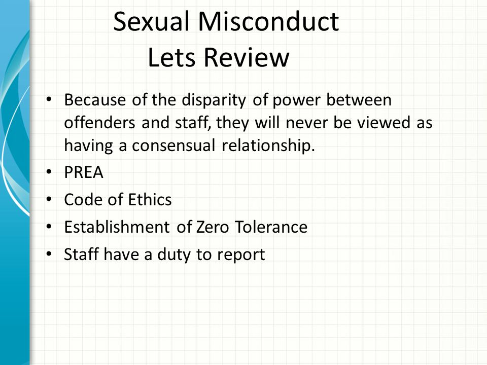 Sexual Misconduct Lets Review