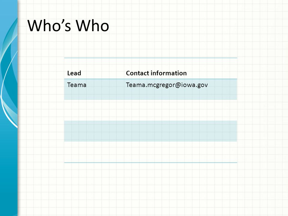Who's Who Lead Contact information Teama Teama.mcgregor@iowa.gov
