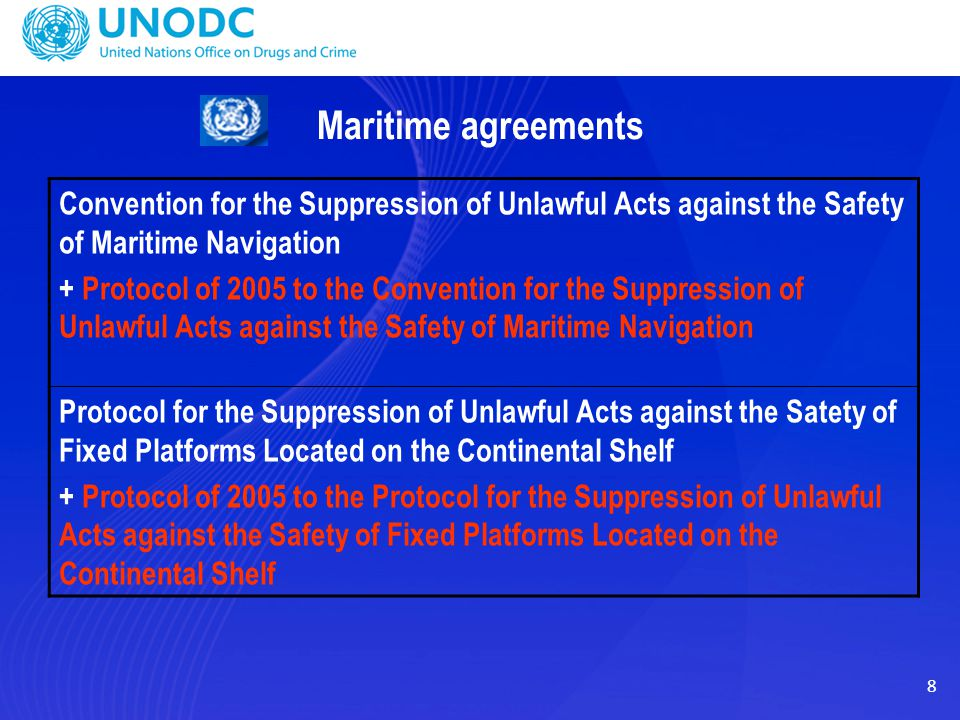 Maritime agreements Convention for the Suppression of Unlawful Acts against the Safety of Maritime Navigation.