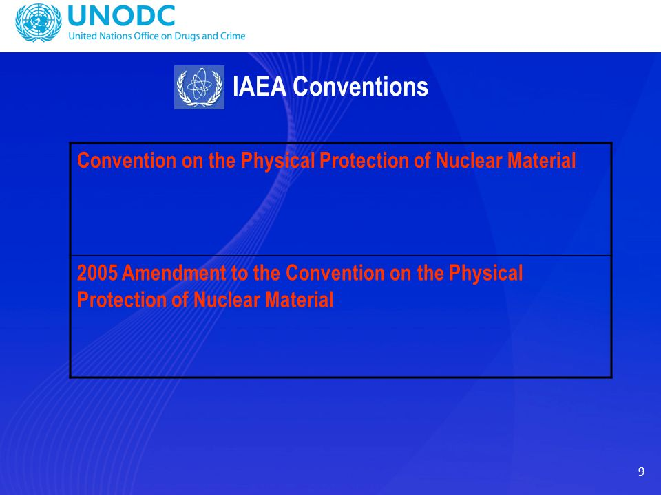 IAEA Conventions Convention on the Physical Protection of Nuclear Material.