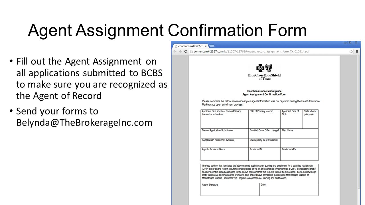 Agent Assignment Confirmation Form