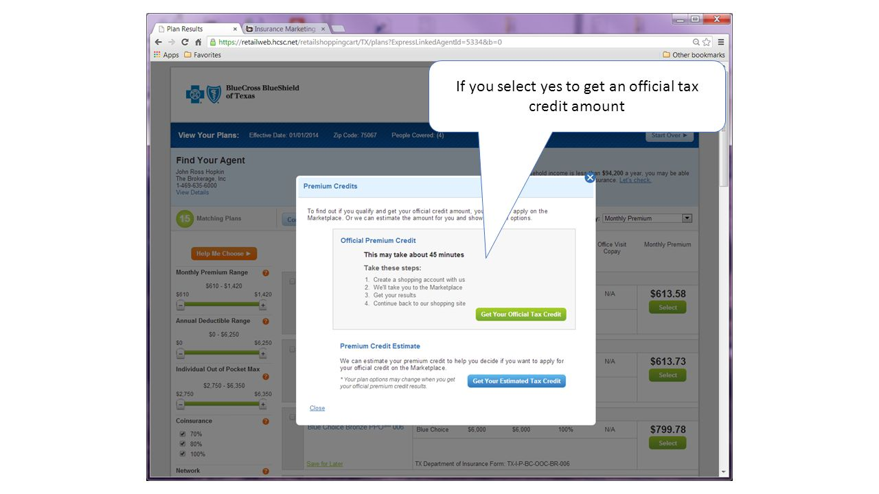 If you select yes to get an official tax credit amount