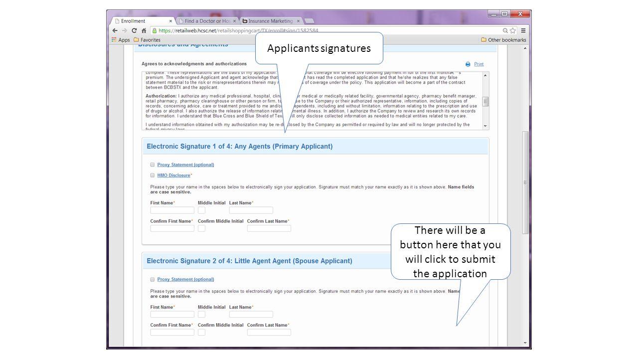 Applicants signatures