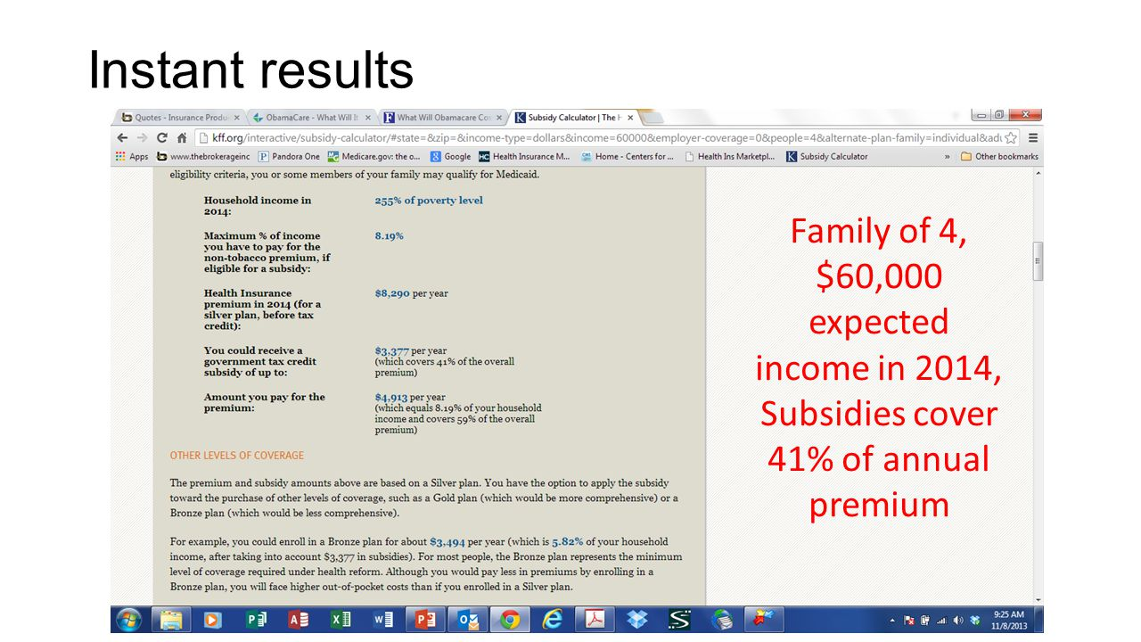Instant results Family of 4, $60,000 expected income in 2014,