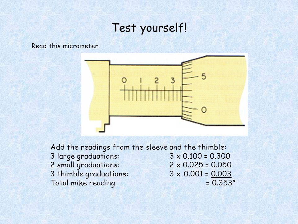 Test yourself! Add the readings from the sleeve and the thimble: