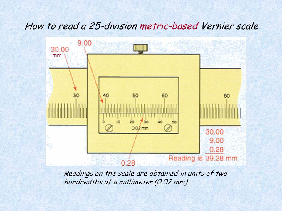 How to read a 25-division metric-based Vernier scale
