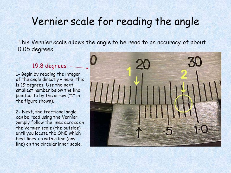 Vernier scale for reading the angle