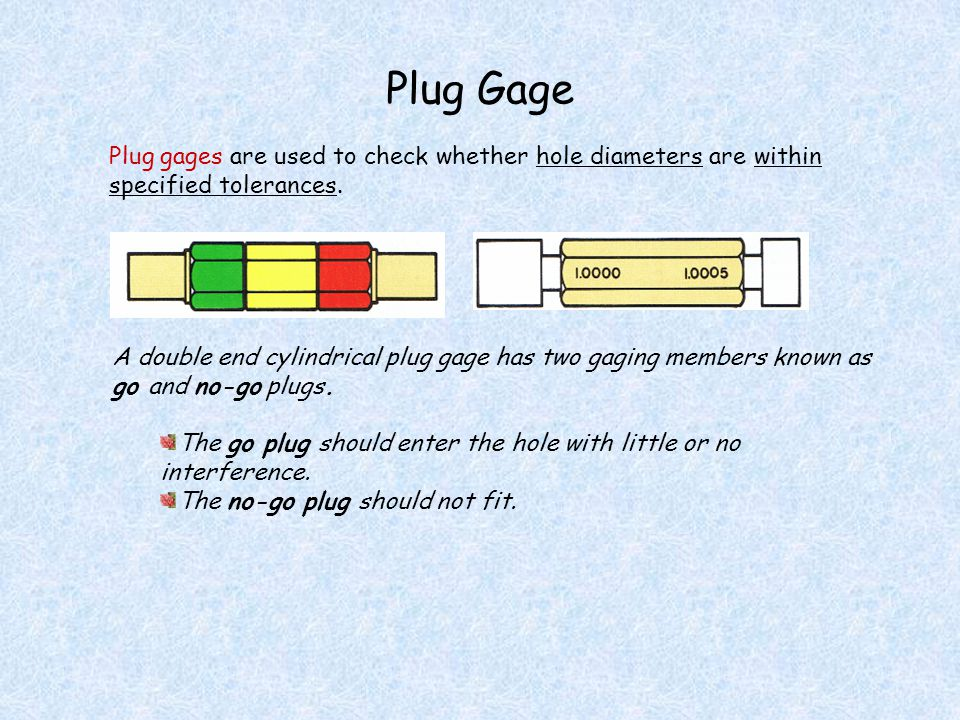Plug Gage Plug gages are used to check whether hole diameters are within specified tolerances.