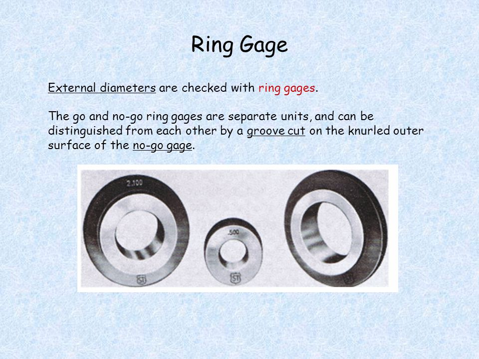 Ring Gage External diameters are checked with ring gages.
