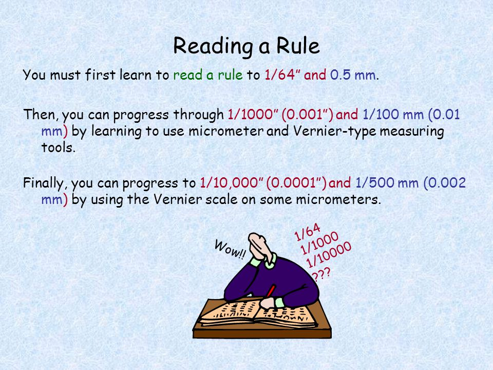 Reading a Rule You must first learn to read a rule to 1/64 and 0.5 mm.