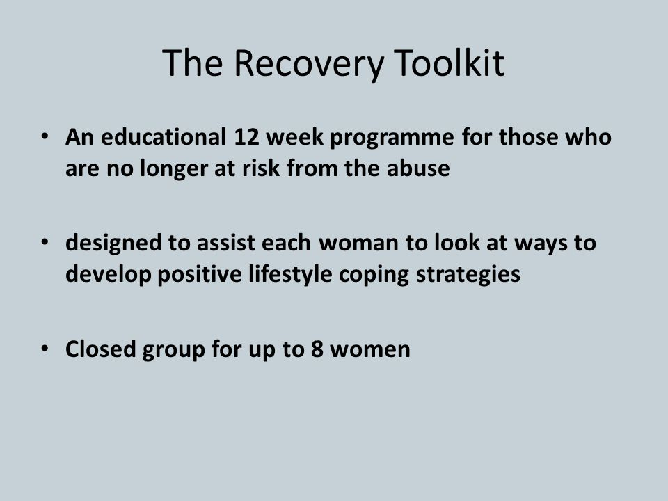 The Recovery Toolkit An educational 12 week programme for those who are no longer at risk from the abuse.