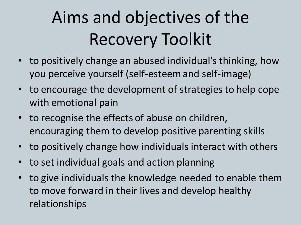 Aims and objectives of the Recovery Toolkit