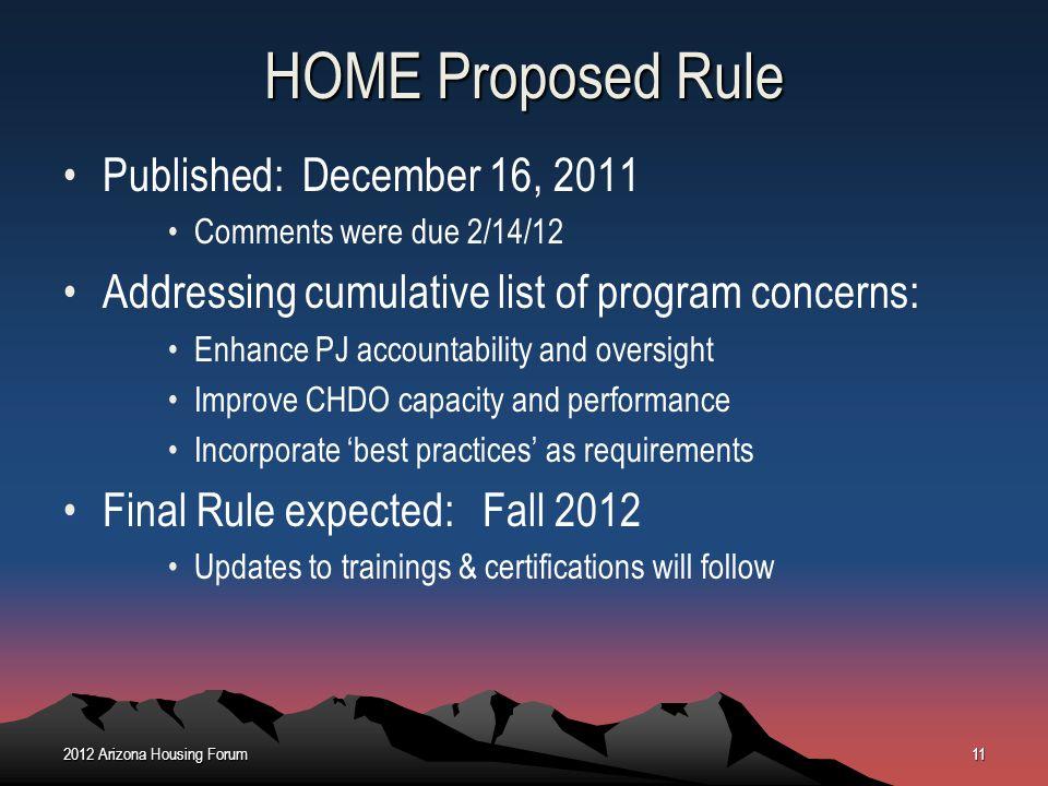 HOME Proposed Rule Published: December 16, 2011