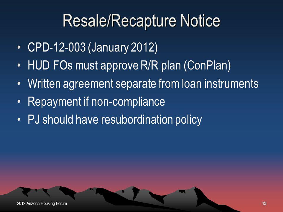 Resale/Recapture Notice