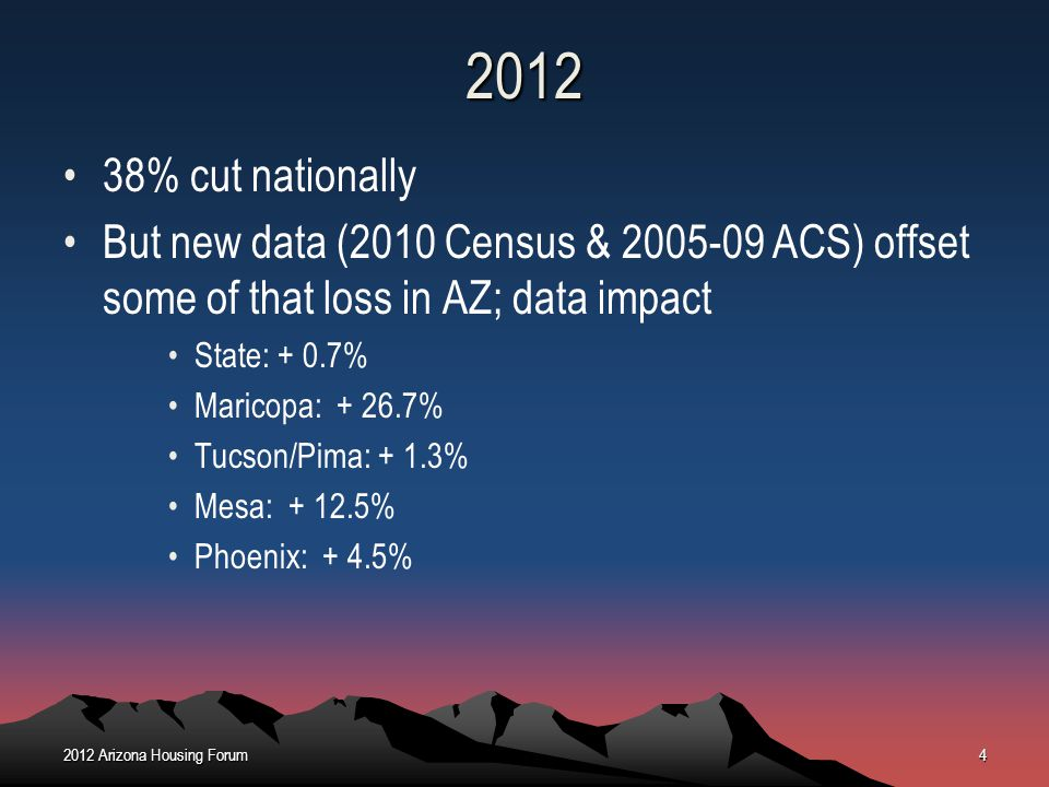 2012 38% cut nationally. But new data (2010 Census & 2005-09 ACS) offset some of that loss in AZ; data impact.