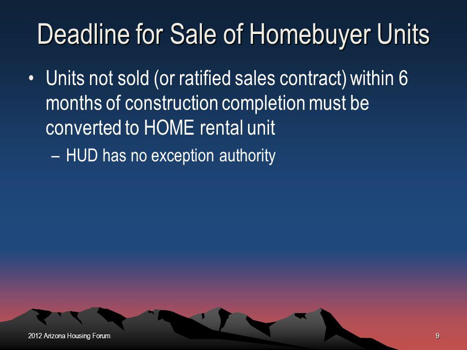 Deadline for Sale of Homebuyer Units