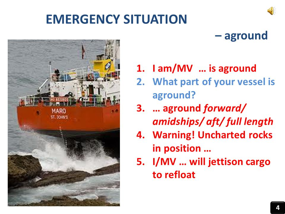 EMERGENCY SITUATION – aground I am/MV … is aground