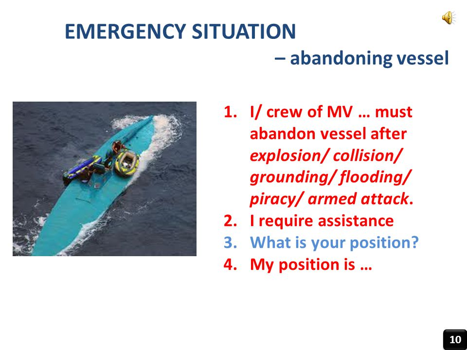 EMERGENCY SITUATION – abandoning vessel