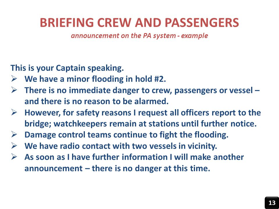BRIEFING CREW AND PASSENGERS announcement on the PA system - example