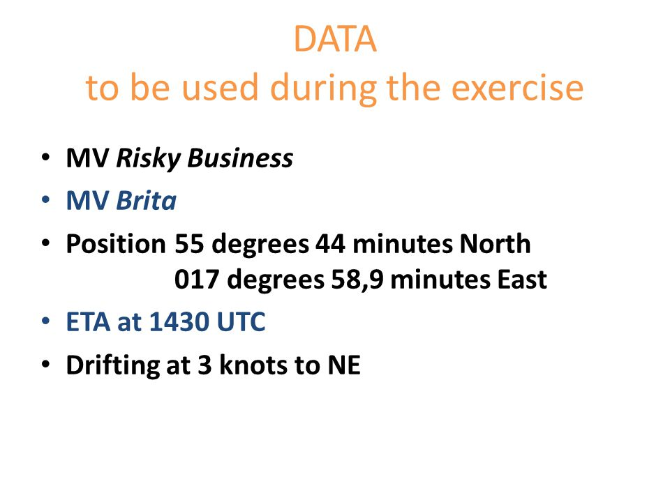 DATA to be used during the exercise