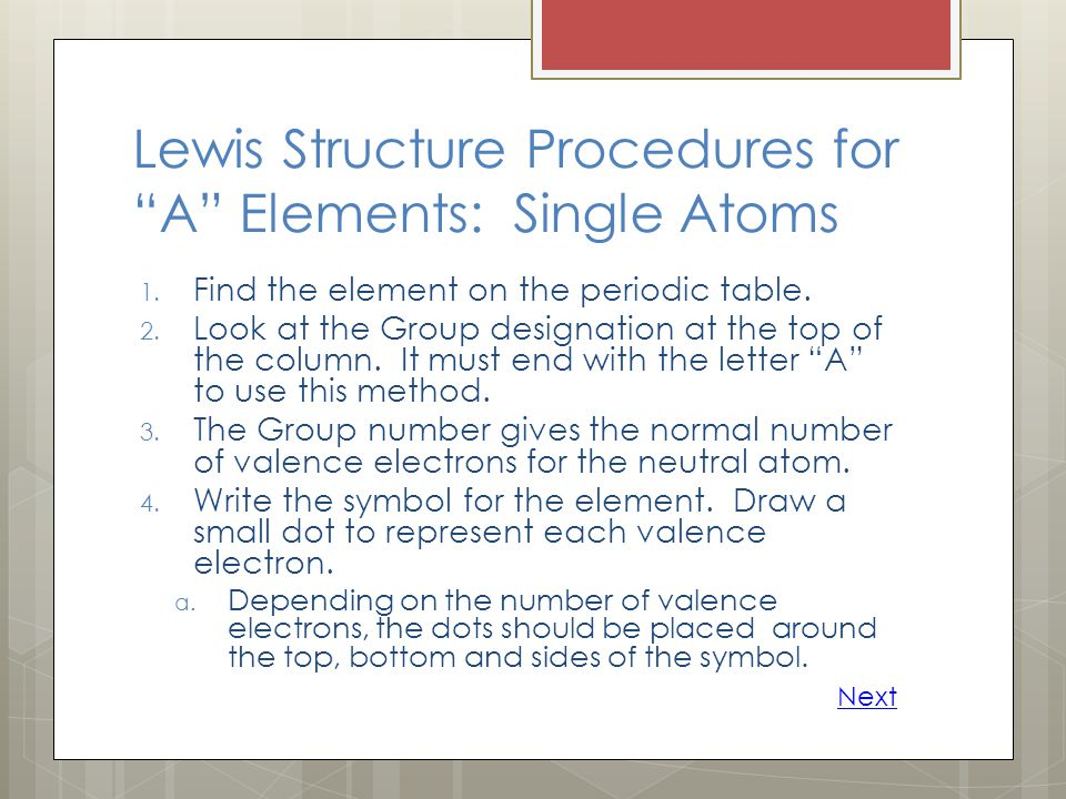 Lewis Structure Procedures for A Elements: Single Atoms