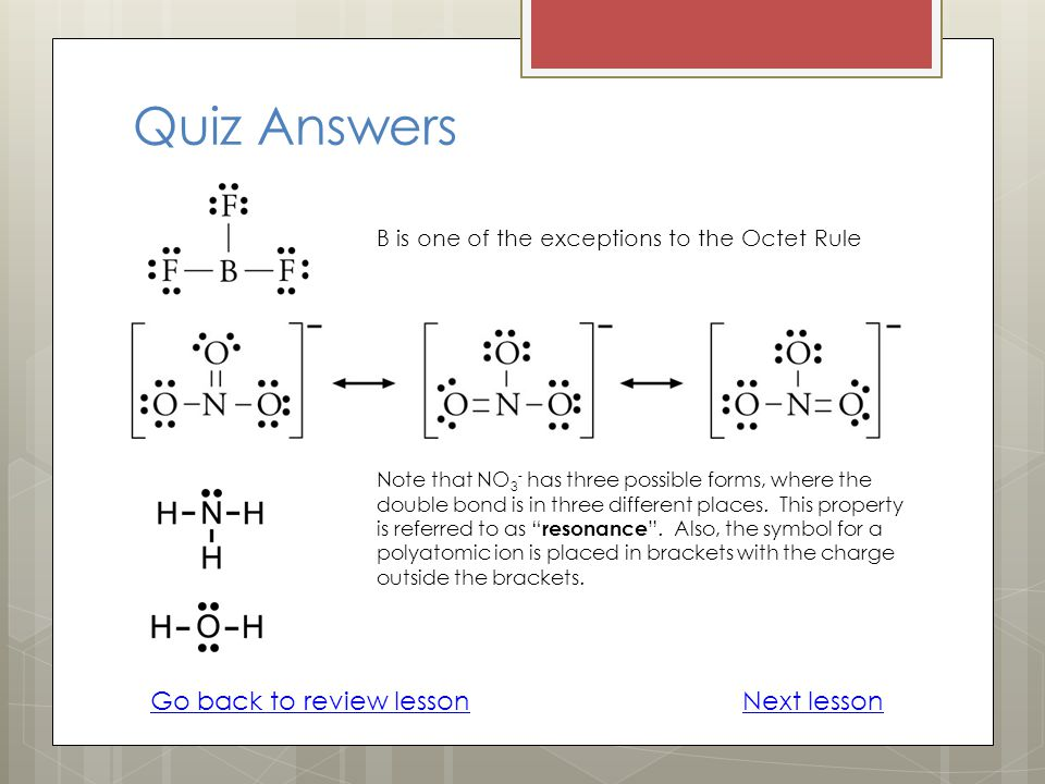 Quiz Answers Go back to review lesson Next lesson
