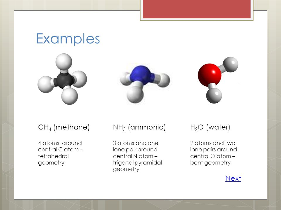 Examples CH4 (methane) NH3 (ammonia) H2O (water) Next