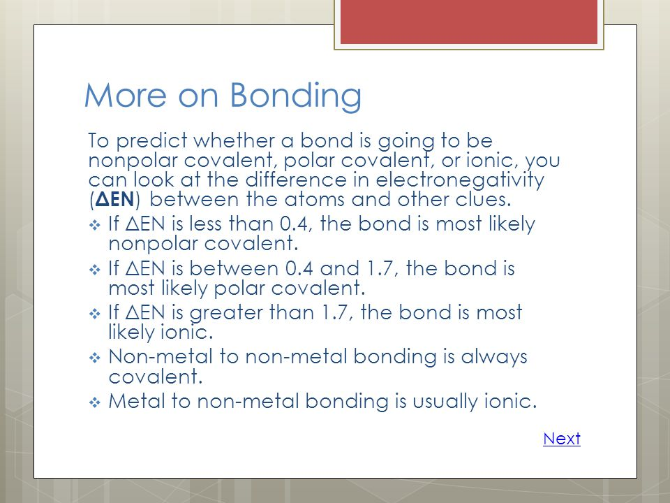 More on Bonding