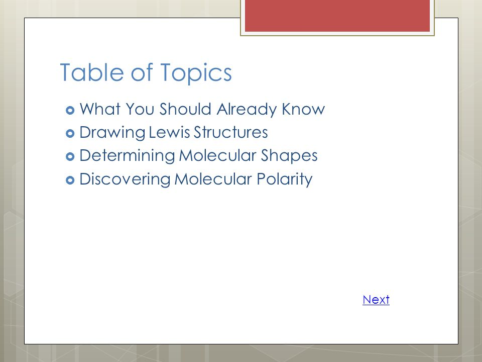 Table of Topics What You Should Already Know Drawing Lewis Structures