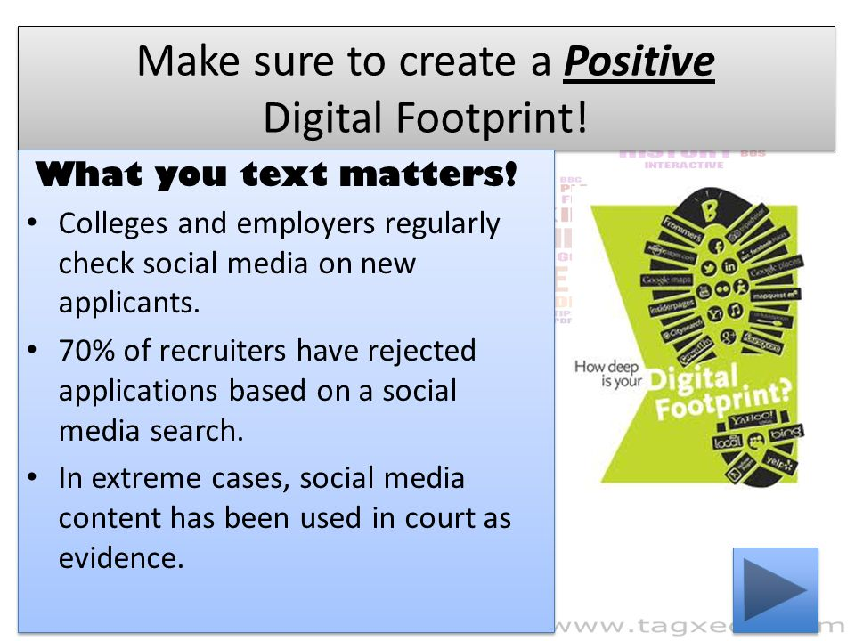 Make sure to create a Positive Digital Footprint!
