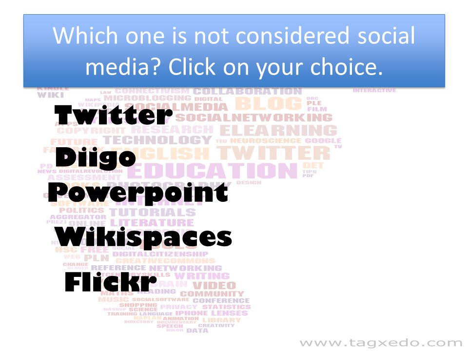 Which one is not considered social media Click on your choice.